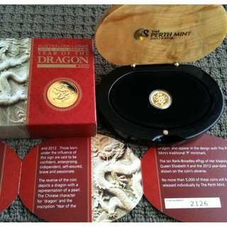 2012 Perth Mint Year of the Dragon 1/10oz Gold Proof Coin