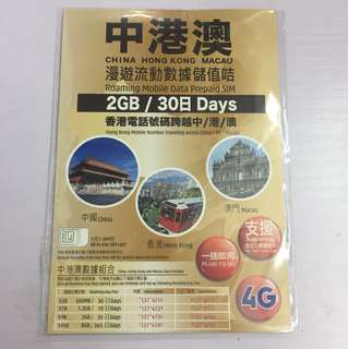 中國內地,香港,澳門,3地旅遊數據卡,30日4G數據下載,2GB流量, $90
