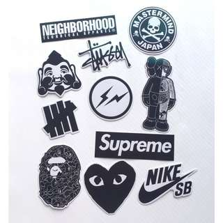11 pcs Whole Set Supreme CDG Stussy MMJ NBHD Bape OF UNDFTD Fenom 3M Sticker
