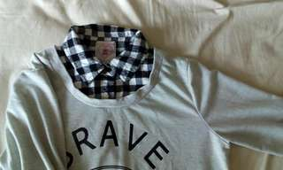 Grey Sweater Grid 2 Piece Top