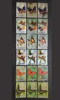 Malaysia 1970 Butterflies 2nd Series 25c To $2 Different Colours Printing - 18v Used Stamps
