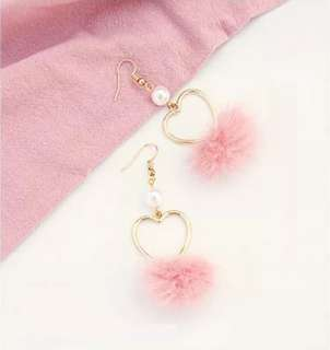 2 for $12 (PO) Heart with Pom Pom Earrings
