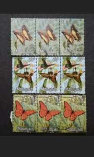 Malaysia 1970 Butterflies 2nd Series Block Of 3 x 3 - 9v Used Stamps