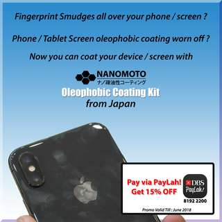 🆕 NANOMOTO Anti-fingerprint Nano Oleophobic Coating Kit