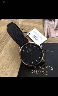 Daniel Wellington 32mm 黑鋼金圈手錶 (全新)
