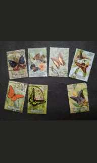 Malaysia 1970 Butterflies 2nd Series Loose Set Short Of $5 - 7v Used Stamps #5