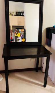 Table and Mirror Set in Wenge (w/ free shelf planks)