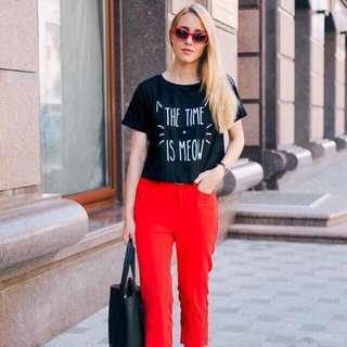 💋Black Top & Maroon Pants Terno
