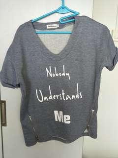 """""""Nobody understands me"""" v-neck shirt"""