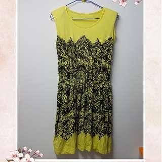 [Used] OP Yellow One piece Dress 黃色 背心連身裙 橡筋腰