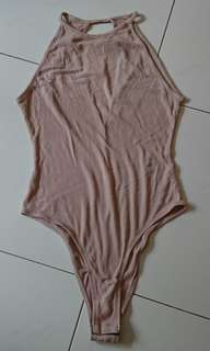 H&m dusty pink halter neck ribbed body suit