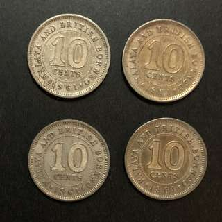 Coin - Malaya & British Borneo 1961 - Queen Elizabeth II 10 Cent ($2 each)