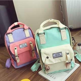 Large Pastel Korean Satchel Canvas Backpack