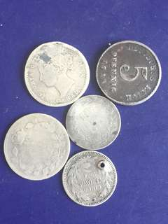 Old silver coins 5 pcs , VG8, 2 coins with hole( used as Pendent ) , not for fussy buyer, include normal mail charges