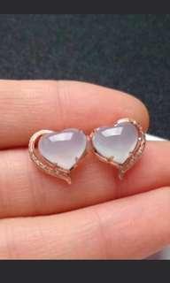 🌸18K Gold - Grade A 水润 White Heart Cabochon Jadeite Jade Earrings🌸