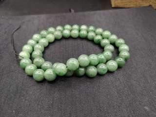 天然老坑苹果绿翡翠珠链。13mm大小