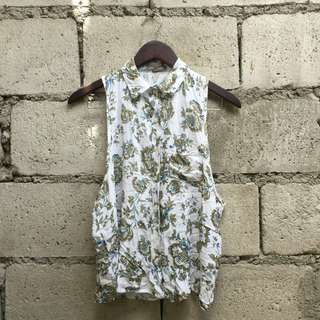 Floral Collared Sleeveless