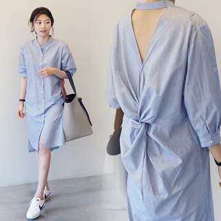 Exposed Twisted Knot Detail Shirt Dress