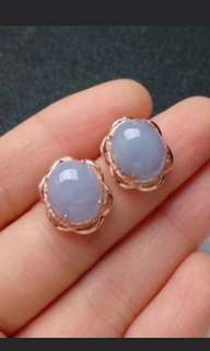 🍀18K Gold - Grade A 水润 Lavender Cabochon Jadeite Jade Earrings🍍