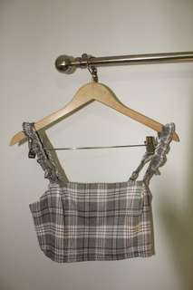 "Glassons ""Check Bustier"" Crop Top"
