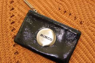 Small Black Mimco Pouch with Silver Badge