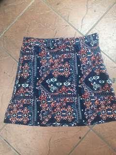 H&M velvet floral skirt
