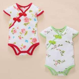 Instock - red green mandarin collar romper, baby infant toddler girl boy children cute glad 123456789 lalalala