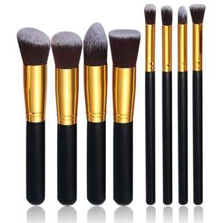 NEW 8 PCS Black Gold Brush