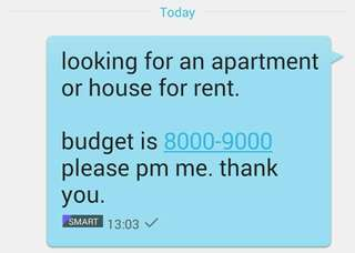 Looking for an apartment or house for rent