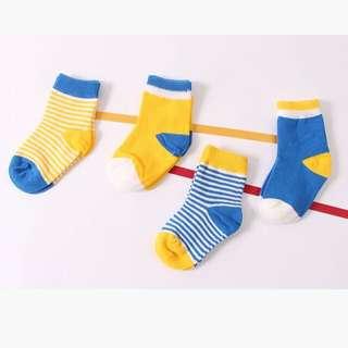 Instock - 4pairs yellow blue socks, baby infant toddler girl boy children sweet kid happy abcdefgh so pretty