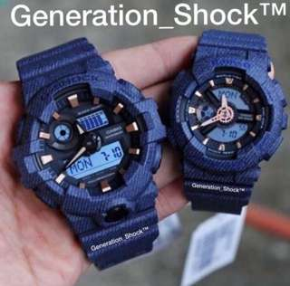 COUPLE🌹SET GSHOCK BABYG DIVER SPORTS WATCH : 1-YEAR OFFICIAL WARRANTY: 100% Originally Authentic BABY-G-SHOCK RESISTANT In DENIM BLUE RUGGED JEANS added with ROSE-GOLD Best For Most Rough Users : BA-110DE-2ADR & GA-700DE-2ADR / BA110DE / GA700DE