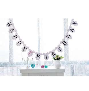 Instock - happy 1st birthday banner, baby infant toddler girl boy children sweet kid happy abcdefgh so pretty