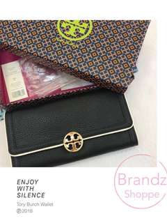🐎Pre-RAYA Sale!!! 💯% Authentic Tory Burch Women Duet Envelope Continental Long Wallet 36741 (Black) Ready Stock @ LAsT 1