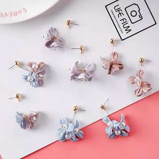 Korean Style Petal and Pearl Drop Flower Earring