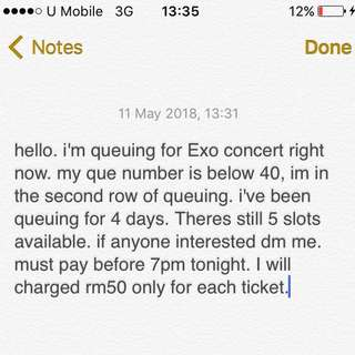 Ticketing service for Exo concert