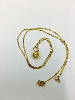 916 Gold Heart Necklace