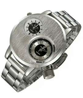 Mens stainless steel military watch