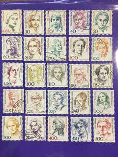Different 25 pcs Germany Women Portraits Used stamps