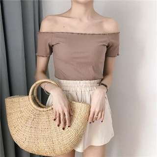 PO Off Shoulder Top in Neutral Colours