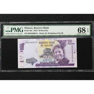 2016 Malawi Reserve Bank 20 Kwacha  PMG 68 EPQ Superb Gem UNC