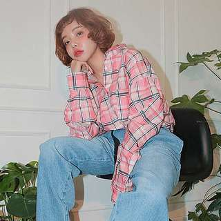 韓風粉紅格紋襯衫