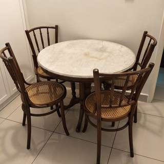 Antique Kopitiam Marble top table n chairs