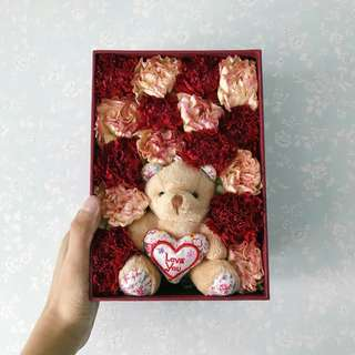 Mother's day Carnation Box with Bear