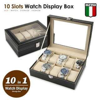 [BEST SELLER]FREE POS Ready Stock 10 Slots Premium Watch Display Pillow Holder Case Storage Box