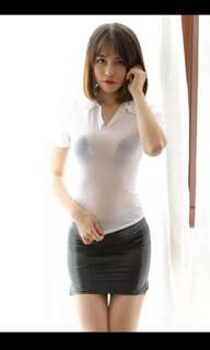 Ice silk top and PU mini skirt