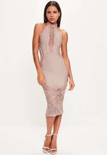 MISSGUIDED Purple Bandage and Lace Midi Dress