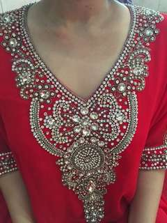 Kaftan Merah with Clear Stones
