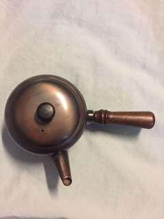 日本銅制木手柄茶壺 (中古)Japan Copper Tea Pot with Wooden Handle