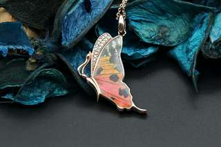 Navia Jewelry Real Butterfly Wing Jewelry Urania ripheus Alloy Necklace