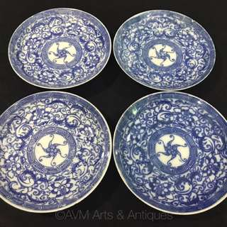 Blue & White Peranakan Nyonya Porcelain Platters